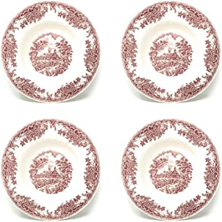 Churchill Brook Pink Floral Scalloped Ceramic Rimmed Soup Bowls, Set of 4