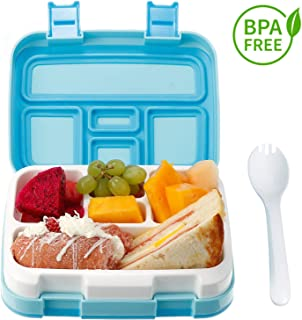 Comfook Lunch Box for Kids, Childrens Bento Box, BPA-Free, Lunch Container with Spoon 5 Compartment Leak Proof Durable for School Picnics Travel (Blue)
