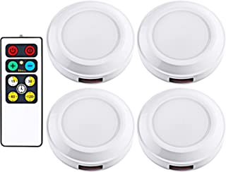 DEWENWILS LED Wireless Puck Light Remote Control, Battery Operated Nightlight, Stick on Anywhere, for Under Cabinet, Counter, Pantry, Warm White, 4 Pack, Round,