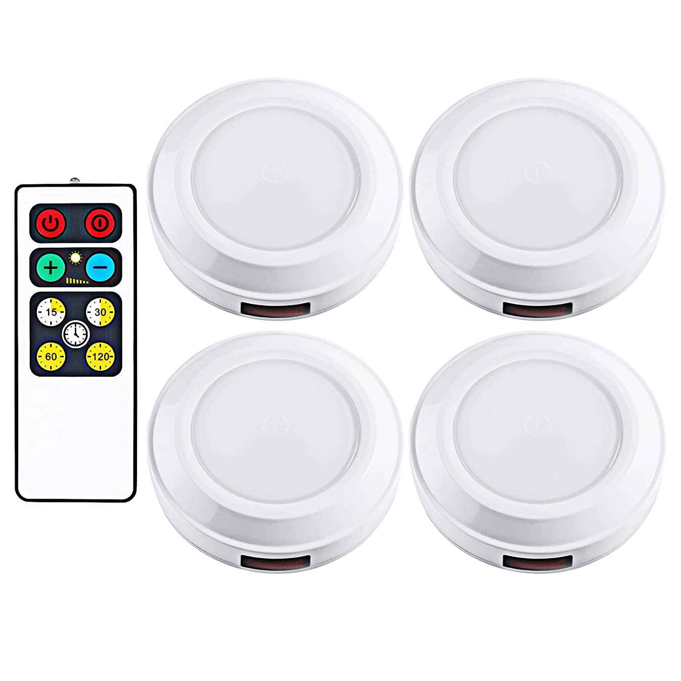 DEWENWILS LED Wireless Puck Light Remote Control (Timer+ Dimmer), Battery Operated Nightlight, Stick-on Anywhere, for Under Cabinet, Counter, Pantry, Warm White, 4 Pack, Round,