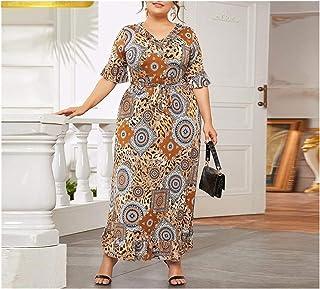 DSJTCH Plus Size Ladies Dress Dubai Middle East Printed Dress Islaimic Turkey Fashion Women Summer Dress (Color : Picture ...