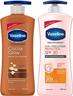 Vaseline Intensive Care Cocoa Glow Body Lotion, 400 ml & Vaseline Sun + Pollution Protection SPF 30 Body Lotion, 400 ml