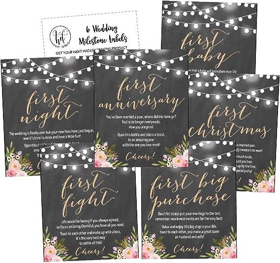 6 Chalk Flower Wedding Milestones Gift Wine Bottle Labels or Sticker Covers