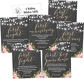 6 Chalk Flower Wedding Milestones Gift Wine Bottle Labels or Sticker Covers, Rustic Floral Bridal Shower Bachelorette Engagement Party Present Perfect Best Registry Bride To Be Firsts For The Newlywed
