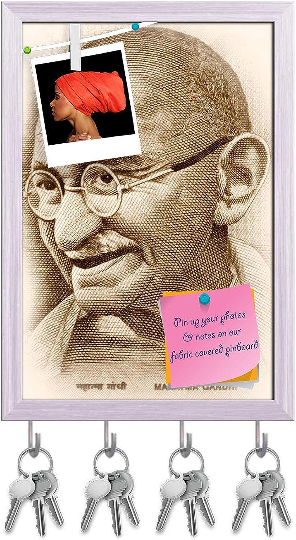 Artzfolio Gandhi Key Holder Hooks   Notice Pin Board   White Frame 12 X 17.5Inch