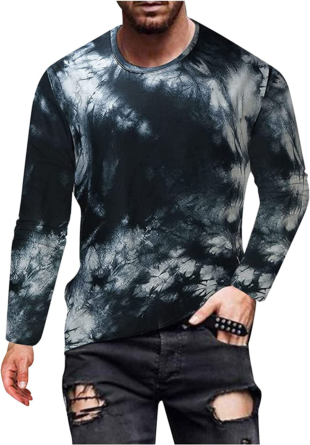 XXBR Soldier Long Sleeve T-shirts for Mens, Fall Street Abstract Art Portrait Print Workout Athletics Crewneck Tee Tops