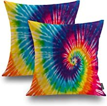 Shrahala Fashion Decorative Pillow Covers 18x18 Set of 2, 1970s Colorful Psychedelic Tie Dye Design Abstract Pattern Cushi...