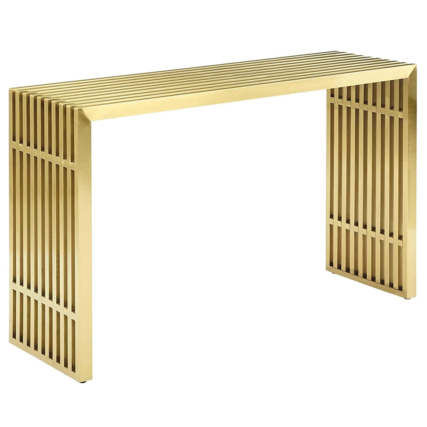 Modway Gridiron Contemporary Modern Gold Stainless Steel Console Table