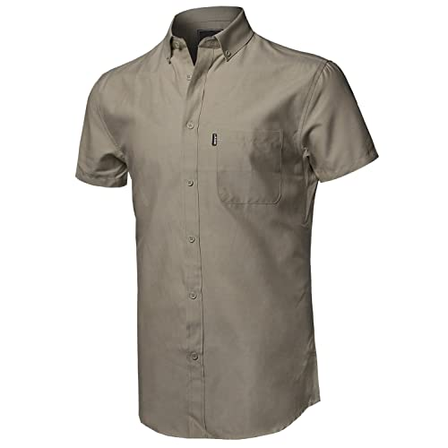 Style by William Mens Printed Cotton Stripe Button Down Short Sleeve Shirt