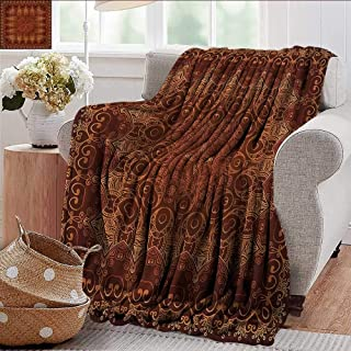 Xaviera Doherty Faux Fur Throw Blanket Antique,Persian Arabic Lace Soft Fabric for Couch Sofa Easy Care 70