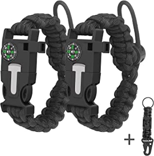 Roberly 4 Pack 550 Paracord Knife Bracelet, Outdoor Paracord Bracelet kit-Adjustable Size-Fire Starte-Emergency Knife-Carabiners, Perfect for Hiking, Traveling, Camping, Paracord Bracelet for Men Gift