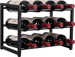 OROPY Estante de Vino de Metal Botelleros de pie Decoraciones para el hogar Vintage de Estilo Industrial de 3 Niveles pa...