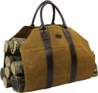 INNO STAGE Firewood Log Carrier Bag Waxed Canvas Fire Wood Holder for Fireplace Stove Accessories Indoor Outdoor