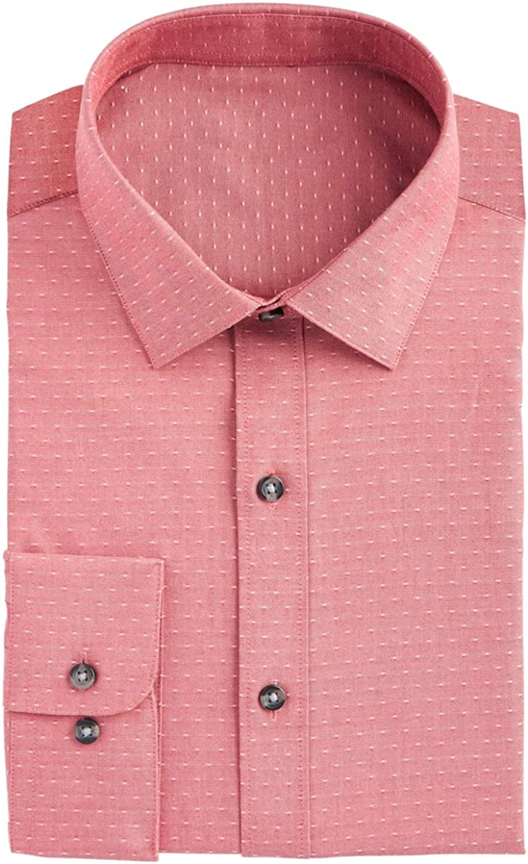 Bar III Mens Dress Shirt Cherry Large Slim-Fit Dobby Dot Red L