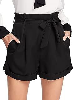 Women's Tie Waist Inseam Pocket Side Plaid Shorts