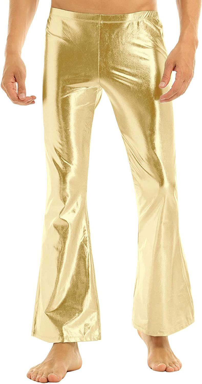iEFiEL Adult Men's Max 64% OFF Shiny Max 49% OFF Metallic Disco Dude 70's Pants Leisure