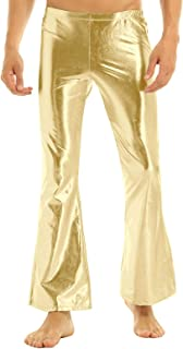 renvena Men's Shiny Metallic Fashion Holographic Pants Disco Flared Bell Bottom Leggings