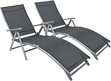 Flamaker Patio Lounge Chairs Adjustable Chaise Lounge Chairs Folding Outdoor Recliners Set of 2 for Beach, Pool and Yard (Gre