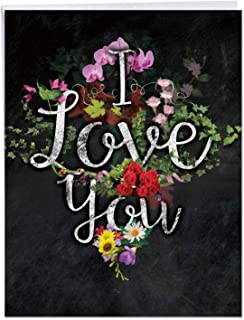 Beautiful Chalk And Roses Valentine's Day Greeting Card with Envelope (8.5 x 11 Inch) - I Love You Valentines Card with Colorful Flowers - Big Vday Printed Stationery Notecard for Women J2358DVDG