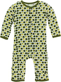Apricot Palm Trees - 9-12 Months KicKee Pants Bamboo Print Coverall with Snaps