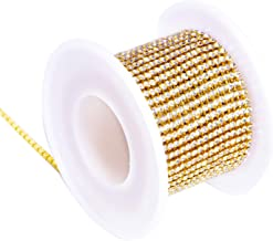 BLINGINBOX Rhinestones Chain 10 Yards SS12/3mm Crystal Glass Sew On Rhinestones Cup Chain With Gold Bottom Sew On Trim(ss12-3mm,Crystal-Gold Bottom)
