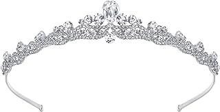 EVER FAITH Women's Austrian Crystal Wedding Teardrop Hair Tiara Headband Clear Silver-Tone
