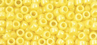 The Beadery 6 by 9mm Barrel Pony Bead in Yellow Pearl, 900-Piece