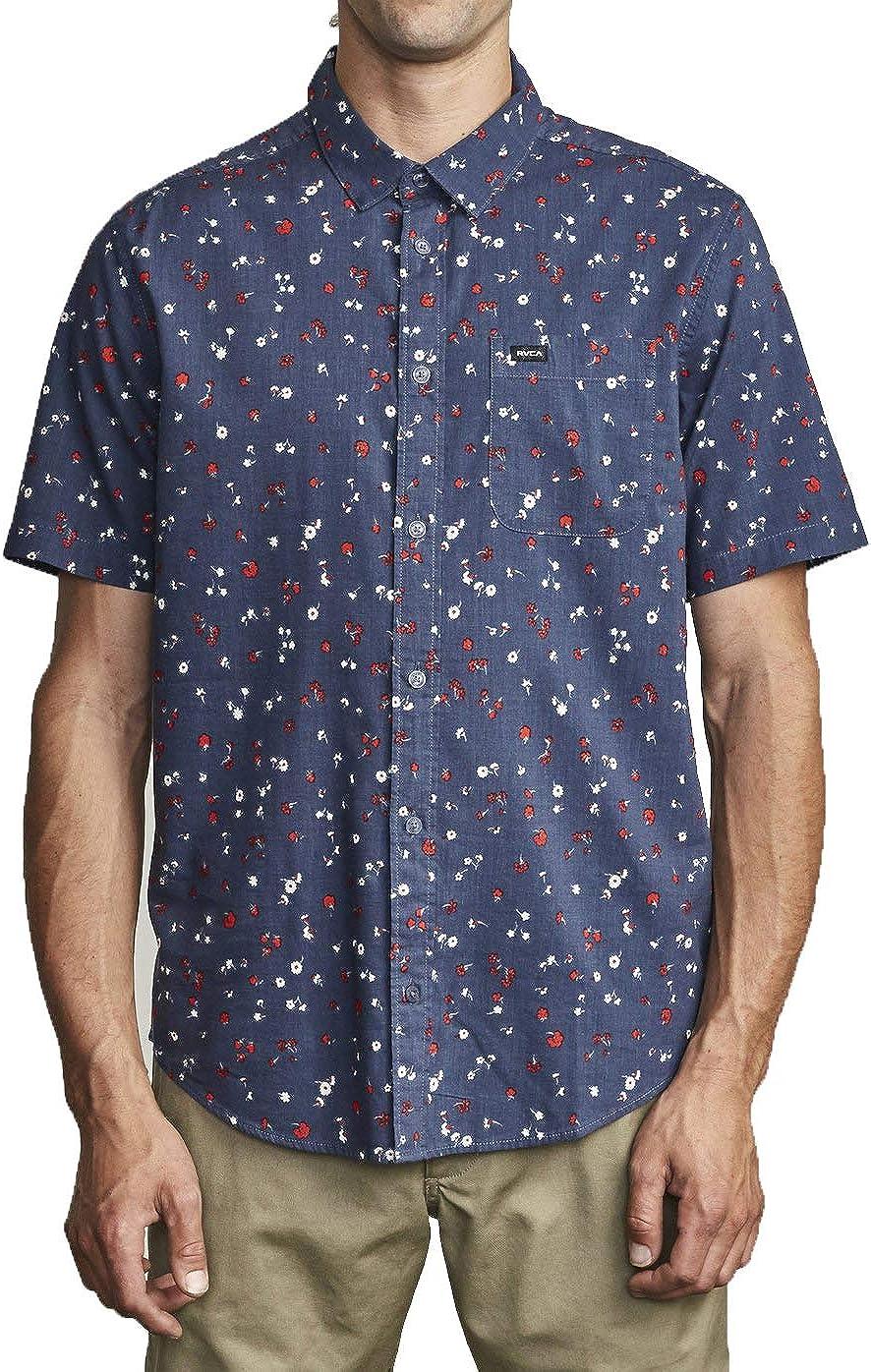 RVCA Men's Calico Short Sleeve Woven Button Front Shirt