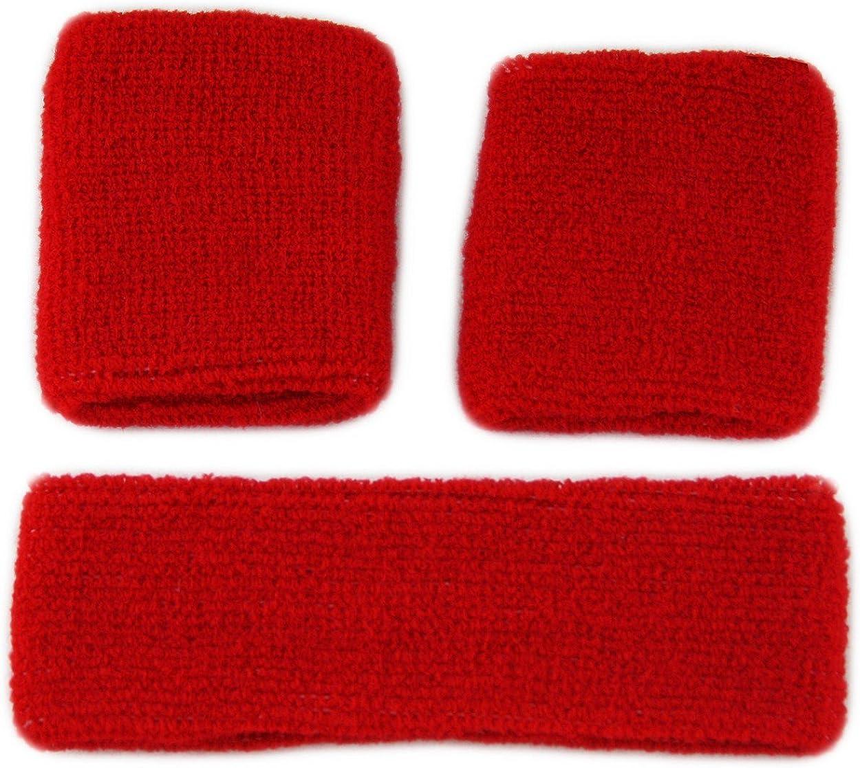 Muñequeras de rizo y cinta para gimnasio – 1 x cinta – 2 x muñequeras en muchos colores, Hombre, color rosso, tamaño Talla única: Amazon.es: Ropa y accesorios