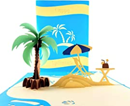 iGifts And Cards Awesome Happy Retirement 3D Pop Up Greeting Card - Palm Tree, Oceanfront, Sand, Ocean, Relax, Coconut, Drinks, Half-Fold, Retire, Congratulations, Job Well Done, Miss You, Farewell