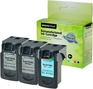 GREENCYCLE Re-Manufactured PG210 210XL PG210XL CL-211XL 211XL Ink Cartridge Compatible for Canon PIXMA iP2700 MP230 MP480 MP490 MX350 MX360 MX410 MX420 Printers (Black, 2 Pack; Tri-Color, 1 Pack)