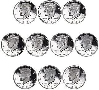 2000-2009 S Kennedy Proof Half Dollar 90% Silver Proof Run 10 Coins Gem Deep Cameo