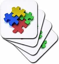 3dRose Colorful Puzzle Design Autism - Soft Coasters, Set of 4 (CST_154998_1)