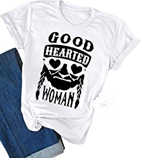 ZJP Women Good Hearted Woman Letter Graphic Print T-Shirt Solid Color Casual Tee