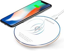 Gigastone Wireless Charger 10W Qi Certified Fast Charging Pad Compatible with Apple iPhone Xs Max/XR/XS/X/8/8 Plus Samsung Galaxy S9/S9+/S8/S8+Note 8 and Qi-Enabled Device (White)