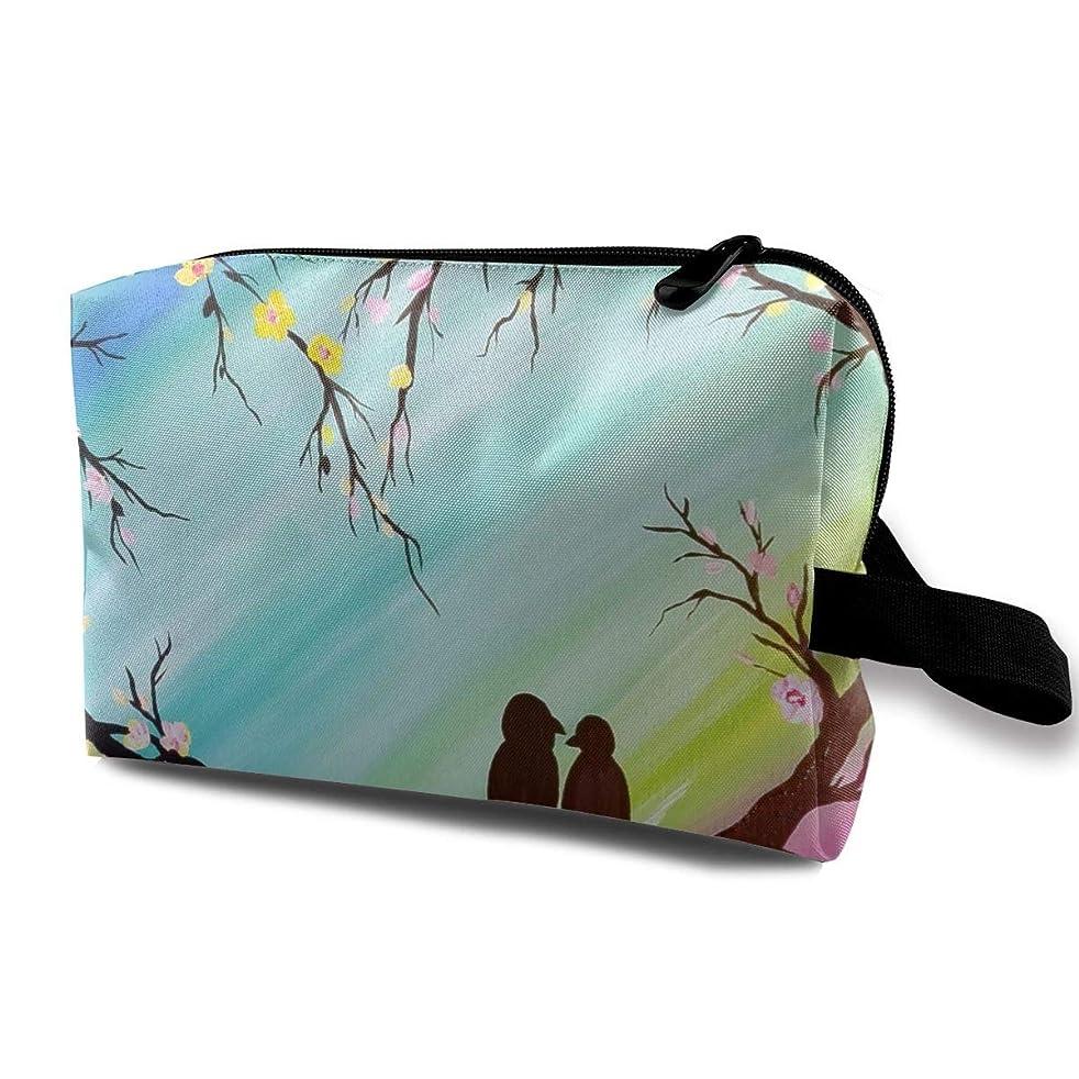 Jingclor Travel Case Cosmetic Storage Bags Love Birds Watercolor Painting Makeup Clutch Pouch Zipper Wallet Pencil Holder