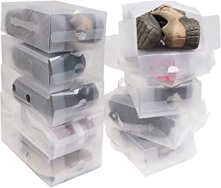 Kurtzy Shoe Storage Box 10 Pack - Clear Corrugated Plastic Shoe Boxes - Collapsible Foldable Shoe Organizer Can Fit Shoes, Sandals - Ideal for Travel