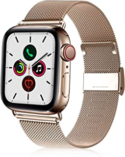 VATI Compatible with Apple Watch Band 38mm 40mm 42mm 44mm, Stainless Steel Mesh Loop Adjustable Magnetic Sport Wristband Replacement Band Compatible for Apple Watch Series 5/4/ 3/2/ 1