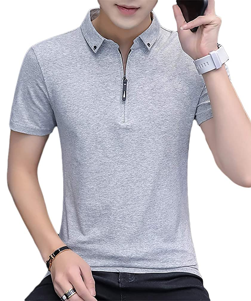 銅操縦する繁栄[meryueru(メリュエル)] チェストファスナー スキッパー tシャツ カジュアル 襟付き ポロシャツ 半袖 シャツ メンズ