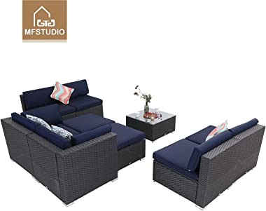 MFSTUDIO 9 Piece Patio Furniture Sofa New Sectional Outdoor Couch Set with Upgrade Rattan Wicker,Navy Blue B