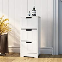 DlandHome Bathroom Storage Cabinet Free Standing Cabinet Side Organizer with 3 Drawers, DUS-SYSRF6027