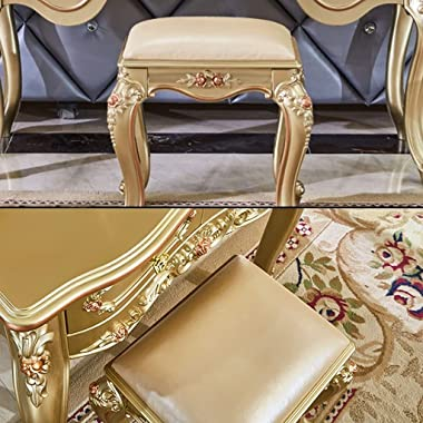Vanity Benches European Style Carved Dressing Stool Pastoral Stool Carved Book Stool French Style Dressing Stool Sturdy and W