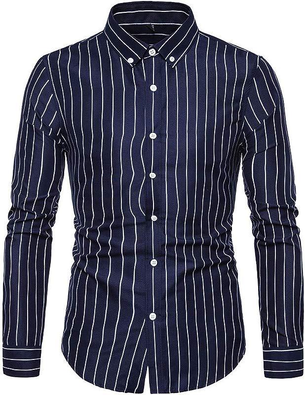 TIANRUN Men Long Sleeve Casual Slim Fit Vertical Striped Button Down Dress Shirt