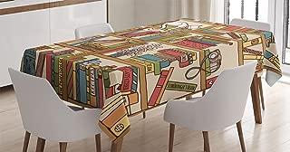 Ambesonne Cat Tablecloth, Nerd Book Lover Kitty Sleeping Over Bookshelf Library Academics Feline Boho Design, Rectangular Table Cover for Dining Room Kitchen Decor, 60