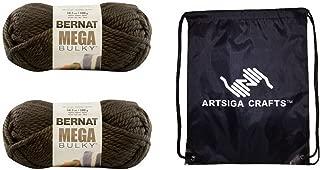 Bernat Knitting Yarn Mega Bulky Mocha Brown 2-Skein Factory Pack (Same Dyelot) 161188-88029 Bundle with 1 Artsiga Crafts Project Bag