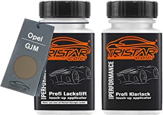 TRISTARcolor Autolack Lackstift Set für Opel GJM Pepperdust Metallic/Muskatgrau Metallic Basislack Klarlack je 50ml