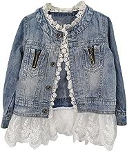 Tianzek Kids Girls Casual Cute Floral Lace Button Denim Jacket Outerwear