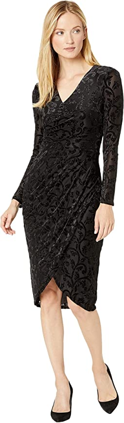 Lurex Velvet Off Draped Sheath Dress