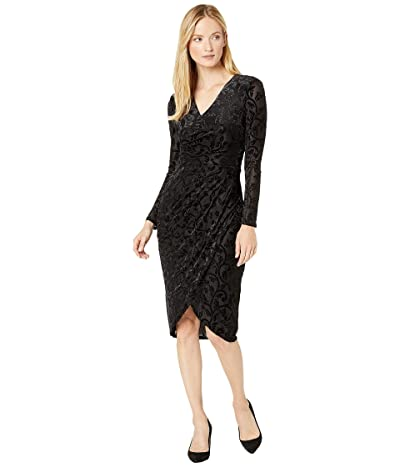 Adrianna Papell Lurex Velvet Off Draped Sheath Dress (Black) Women
