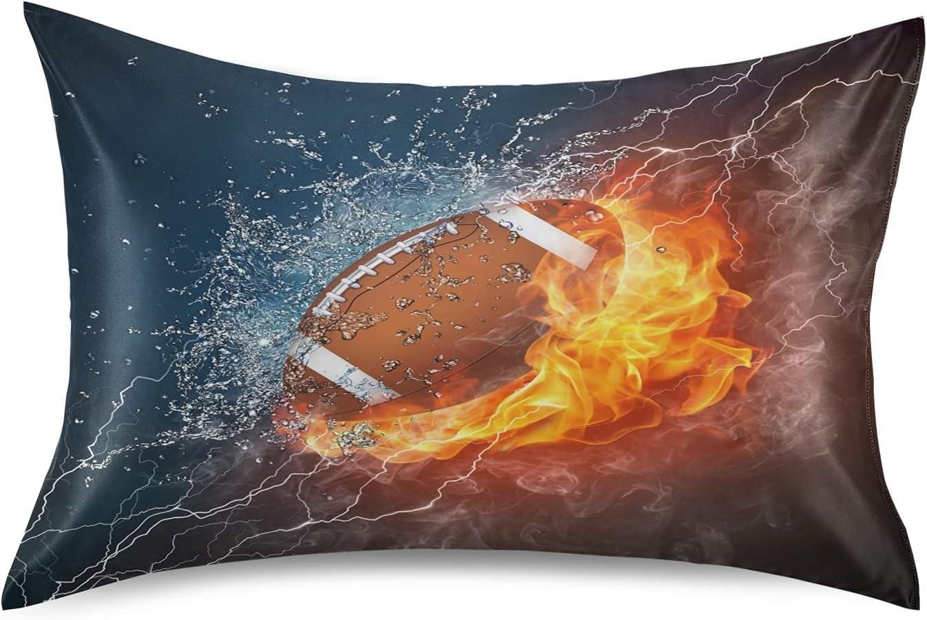Art Ice Fire New item Rugby Football Pillowcase Pillow Cover Sham Qu Japan's largest assortment Case